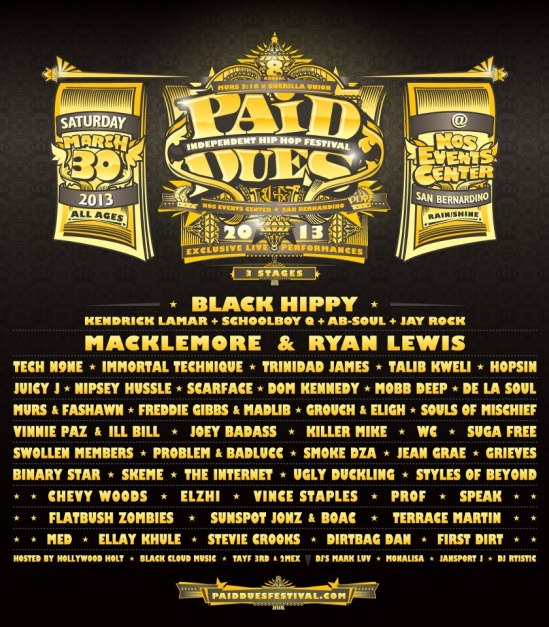 Paid Dues 2013 – Artist Line-up Announced